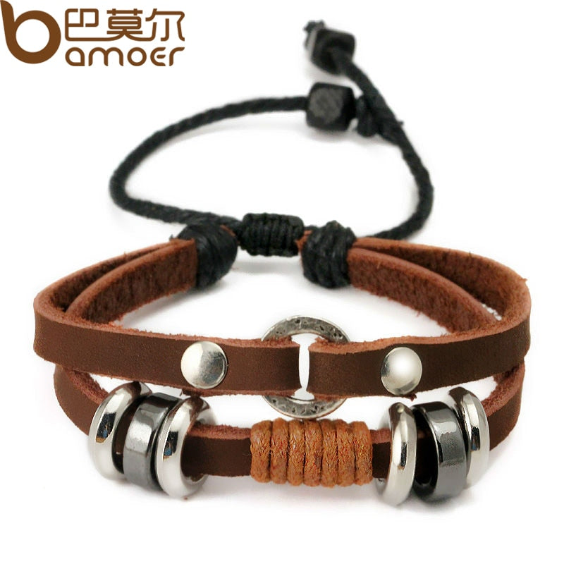 Wrap Brown Cow Leather Bracelet for Men With Braided Metal Leaf Charms Fashion Woven Bracelet PI0279