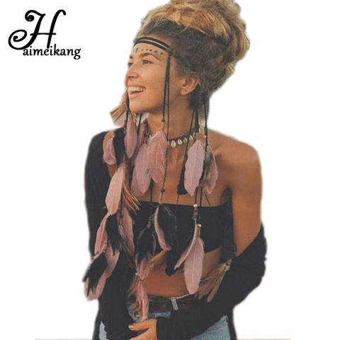 Haimeikang Festival Indian Headband Handmade Feather Headband Hippie Headdress Adjustable Women Feather Hair Bands Accessories