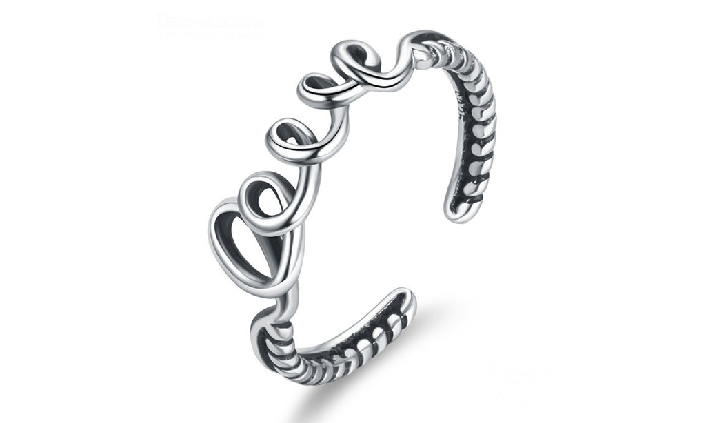 LOVE  Rings Silver Open Finger Rings for Women Wedding Ring