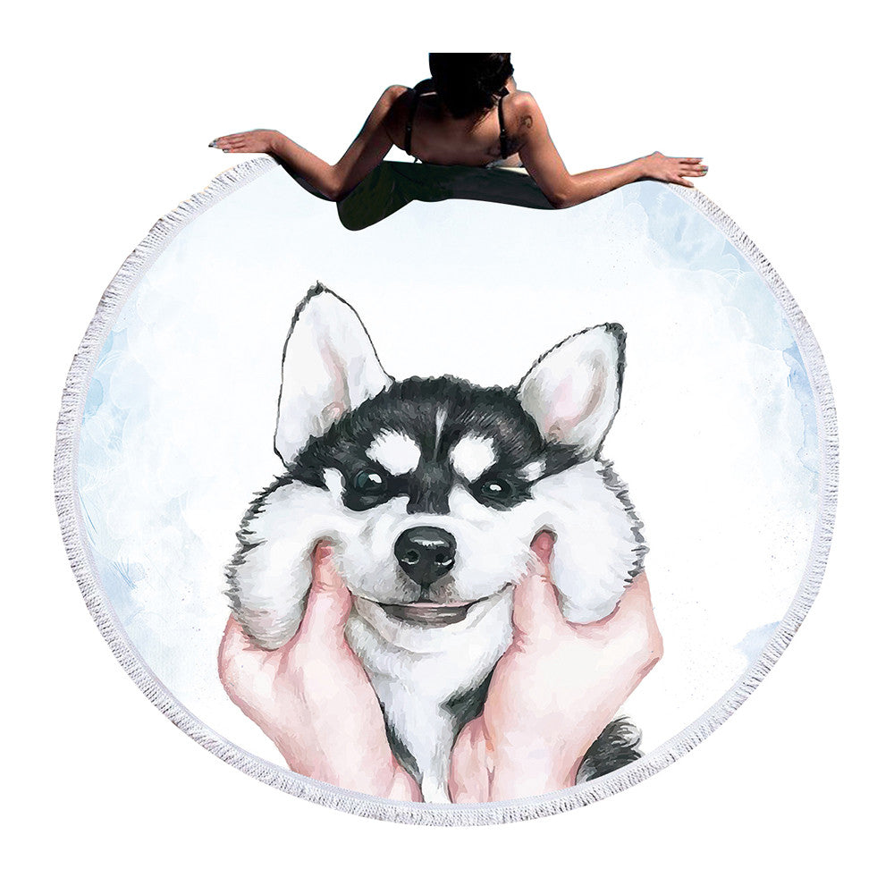 BeddingOutlet Round Beach Towel For Kids With Tassel Blanket Husky  Bath Towel Large Yoga Mat Blanket