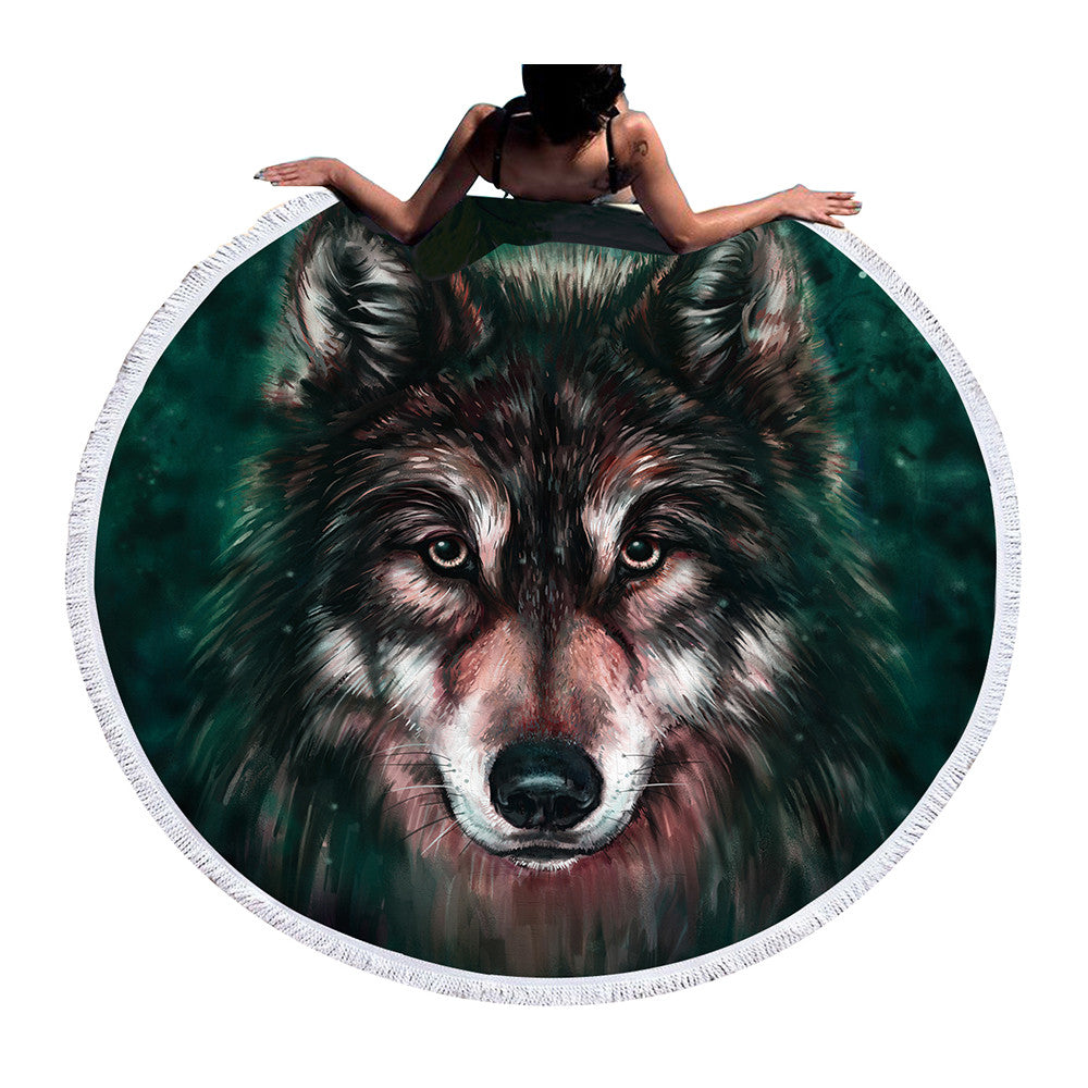 BeddingOutlet 3d Large Towel Round Beach Towel Boys Summer Sunblock Wolf Tassel Blanket Tapestry
