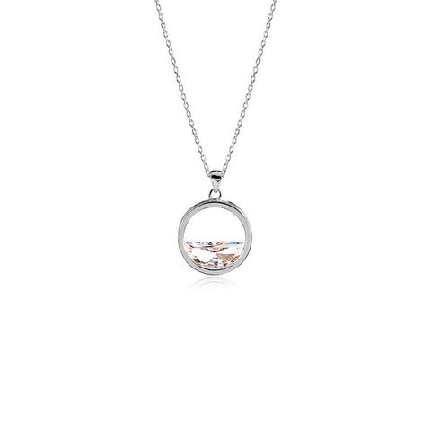 Women Necklace Round Pendant Necklace with Shining Zircon Silver Color Necklace