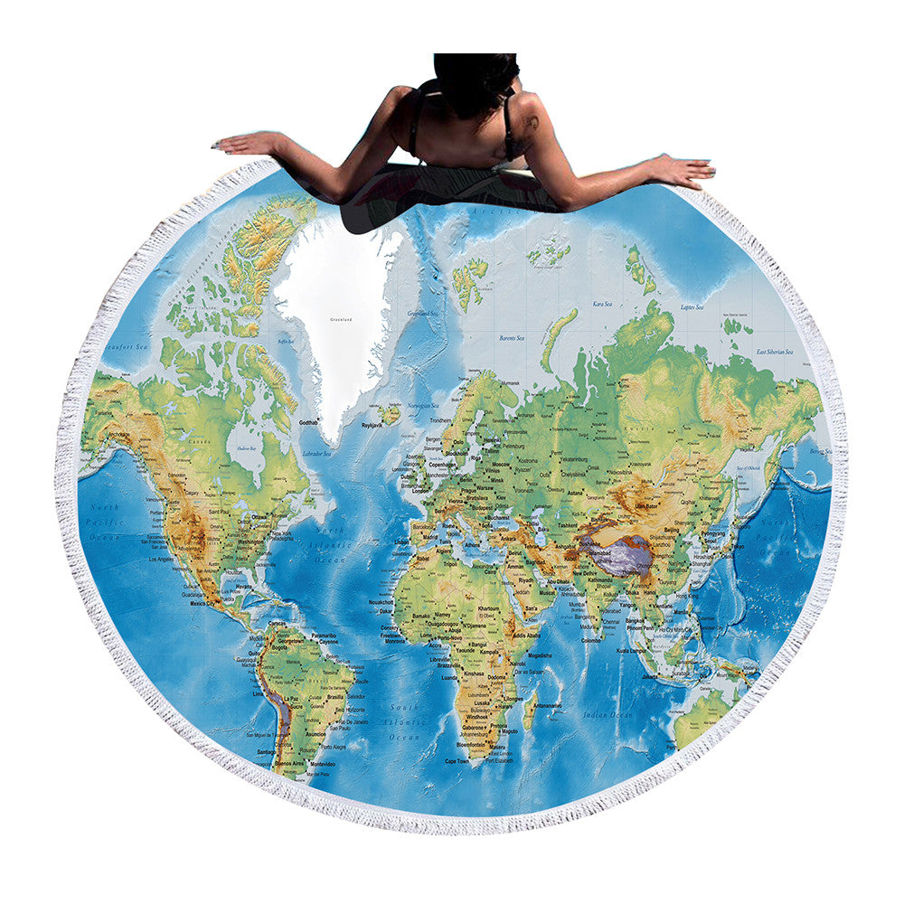 BeddingOutlet Large Round Beach Towel Adults Boys With Tassel World Map Summer Bath Towel Yoga Mat