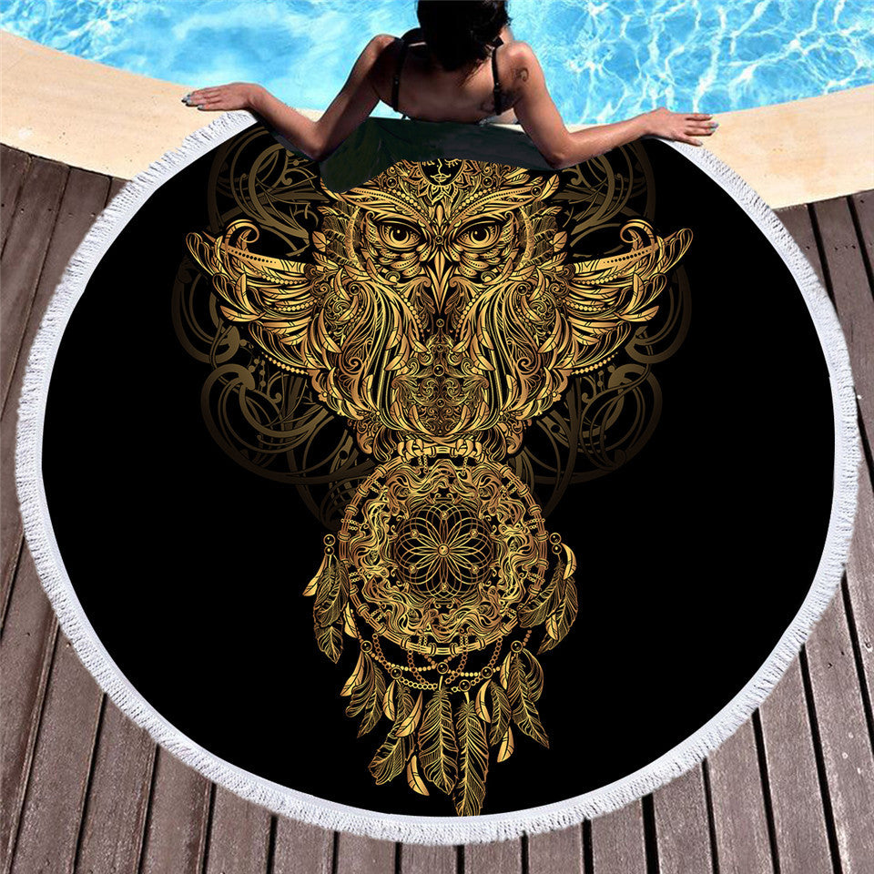 BeddingOutlet Summer Round Beach Towel Bath Towel Large for Adults Owl Tassel Blanket Beach Cover Up