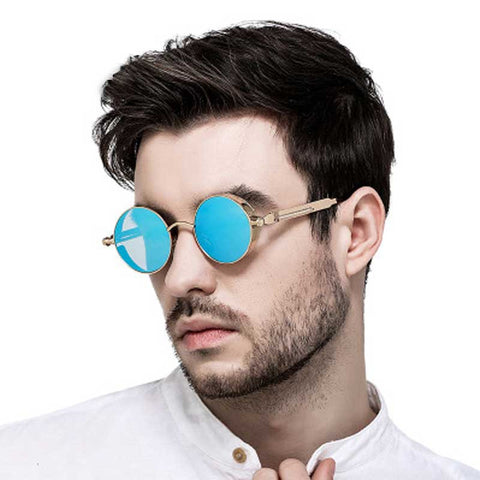 Gothic Steampunk Sunglasses for Men Women Vintage Round Retro Steam Punk Sun glasses Brand Designer Metal Coating Lens Glasses