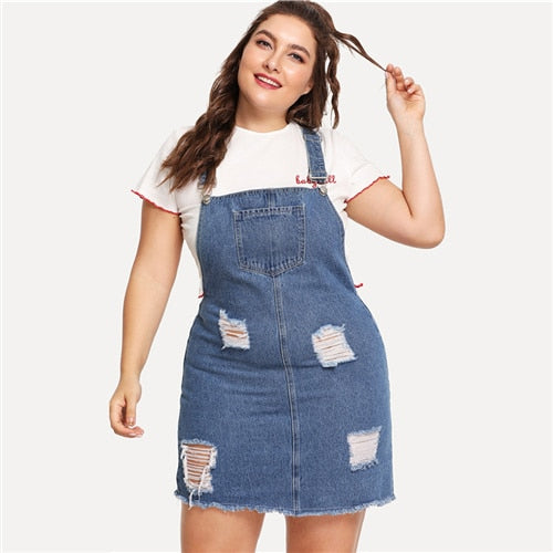 84cb83fe48 SHEIN Hem Distressed Denim Overall Dress 2018 Summer Straps Sleeveless  Ripped Clothing Women Plus Size Casual