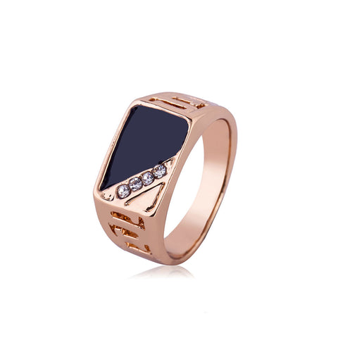 Metal Geometric Shape Wedding Band Diamond-encrusted Rings for Men Jewelry