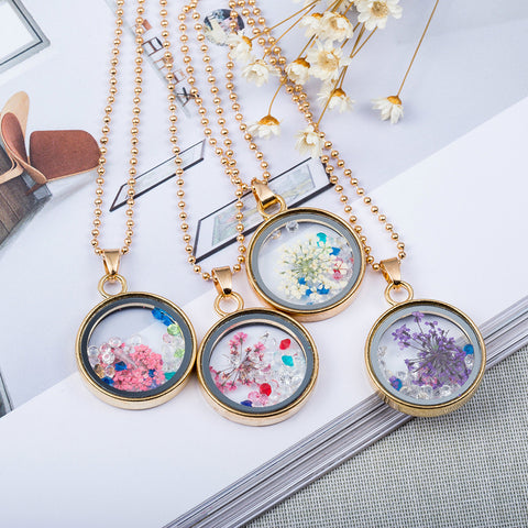 Fashion Women Round Glass Dried Flowers Pendant Necklaces Rhinestone Necklace
