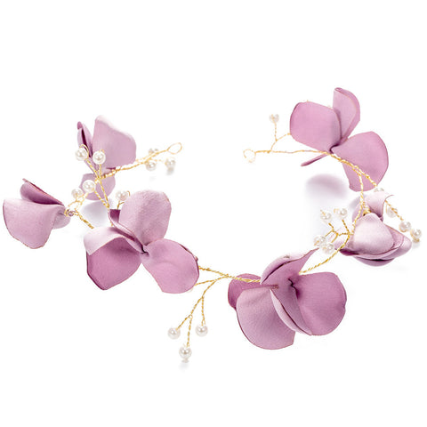 Flower Girls Crown Kids Floral Pearl Wreath Headband Garland Headbands for Festival Wedding Party