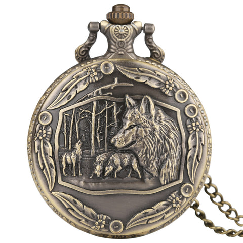Big Wolf Necklace Pocket Watch, Mens Retro Full Hunter Quartz Pocket Watches, Best Gift for Men