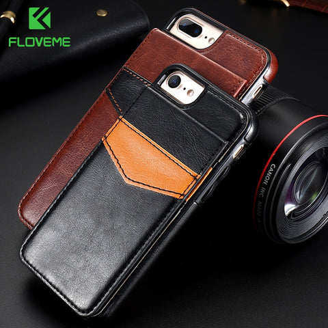 FLOVEME Wallet Flip Case For iPhone X Xs Max Card Slot Retro PU Leather Phone Cases For iPhone 7 8 Plus 6 6s Cover Bag Capinhas