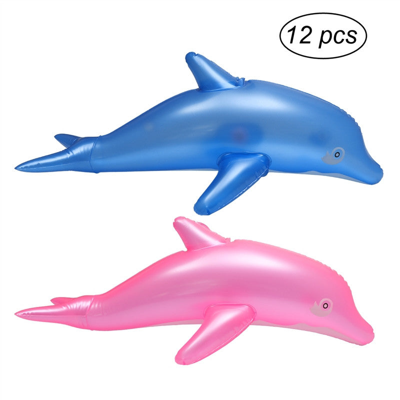 12pcs Inflatable Dolphin Blow Up Bath Time Toy Swimming Pool Beach Toy Party Favor Gift