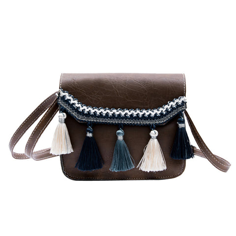 Womens Leather Crossbody Bag Vintage Tassel Shoulder Bags Messenger Bag