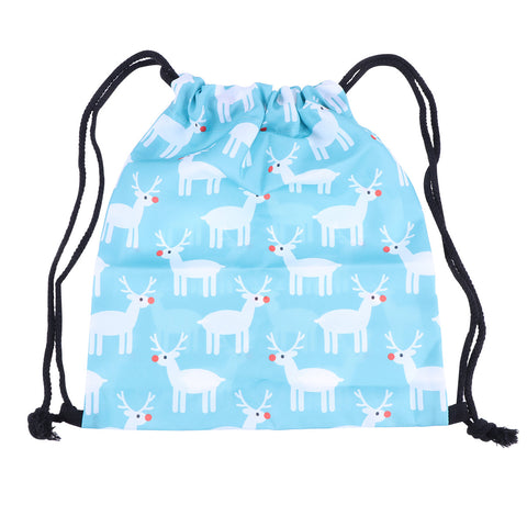 Women Drawstring Bags Fashion Christmas Deer Print Christmas Bag Drawstr Bag Drawstring Backpack