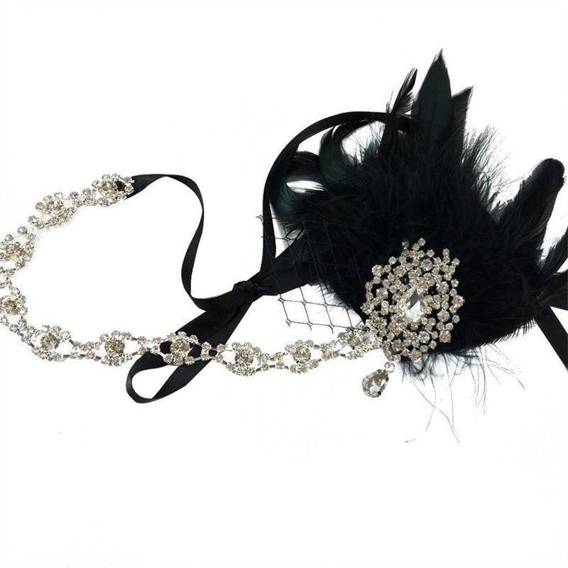 Bridal Feather Headband Flapper Fancy Dress Costume Hairband Headpiece (Black)