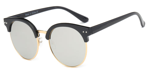 Women Classic Fashion Half Frame Round Cat Eye Sunglasses