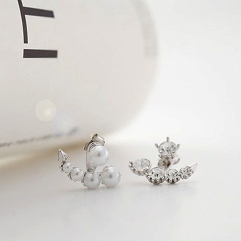 Women Pearl Crystal Rhinestone Ear Ear Stud Earrings Jewelry Gift