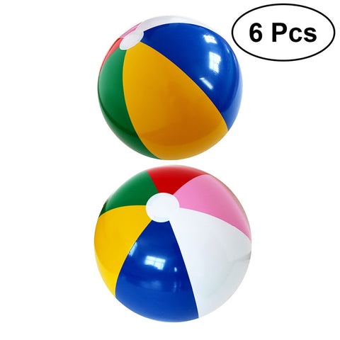 6pcs Rainbow Color Party Pack Inflatable Beach Balls Cute Balls for Beach Swimming Pool Parties
