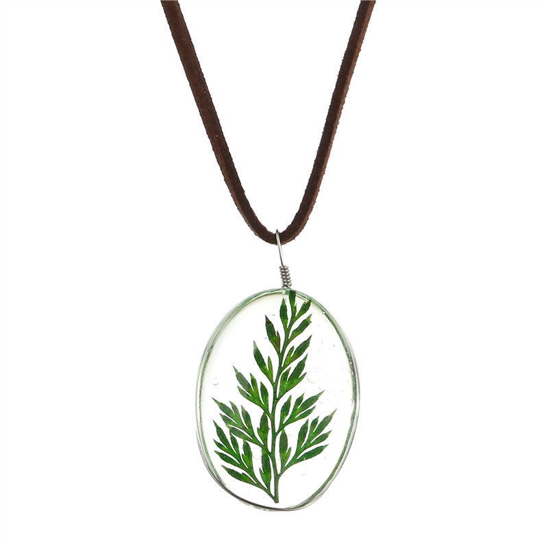 Dried Leaf Necklace Oval Pendant Leaves Pressed Necklace for Women Girls