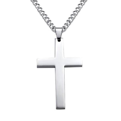 Korean Version of The Mens Christian Titanium Single Large Smooth Cross Necklace Pendant Necklace Stainless Steel