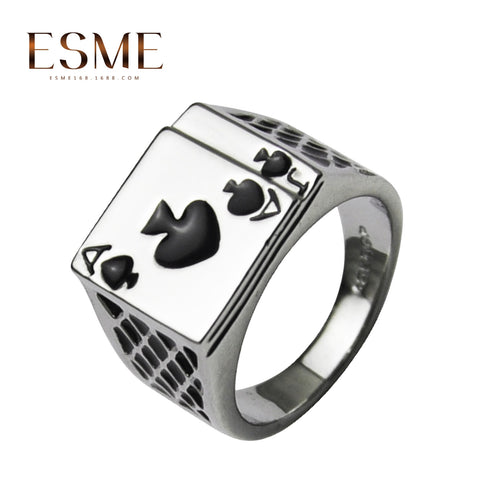1Pcs Mens Jewelry Chunky Black Enamel Spades Cool Poker Ring