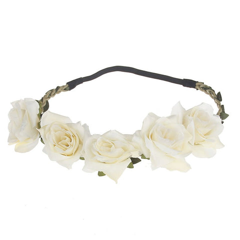 Hair Flower Crown Women Handmade Cloth Flower Headband  Beach Adjustable  Girls Rose Flower Garland