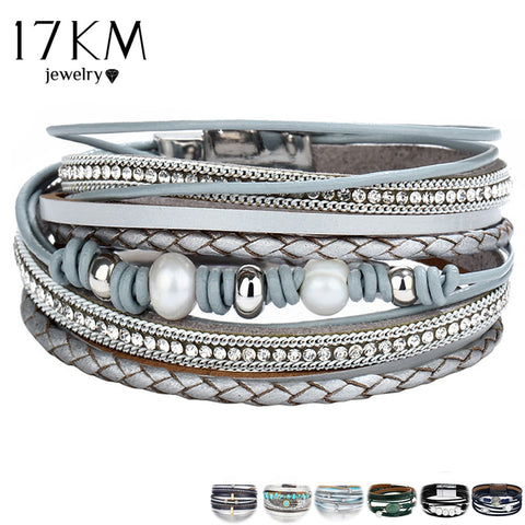 17KM Vintage Multiple Layers Leather Bracelets For Women Men New Simulated Pearl Fashion Charms Bracelet Femme Statement Jewelry