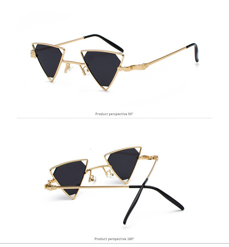 Roffy Metal Geometry Triangle Frame Sunglasses