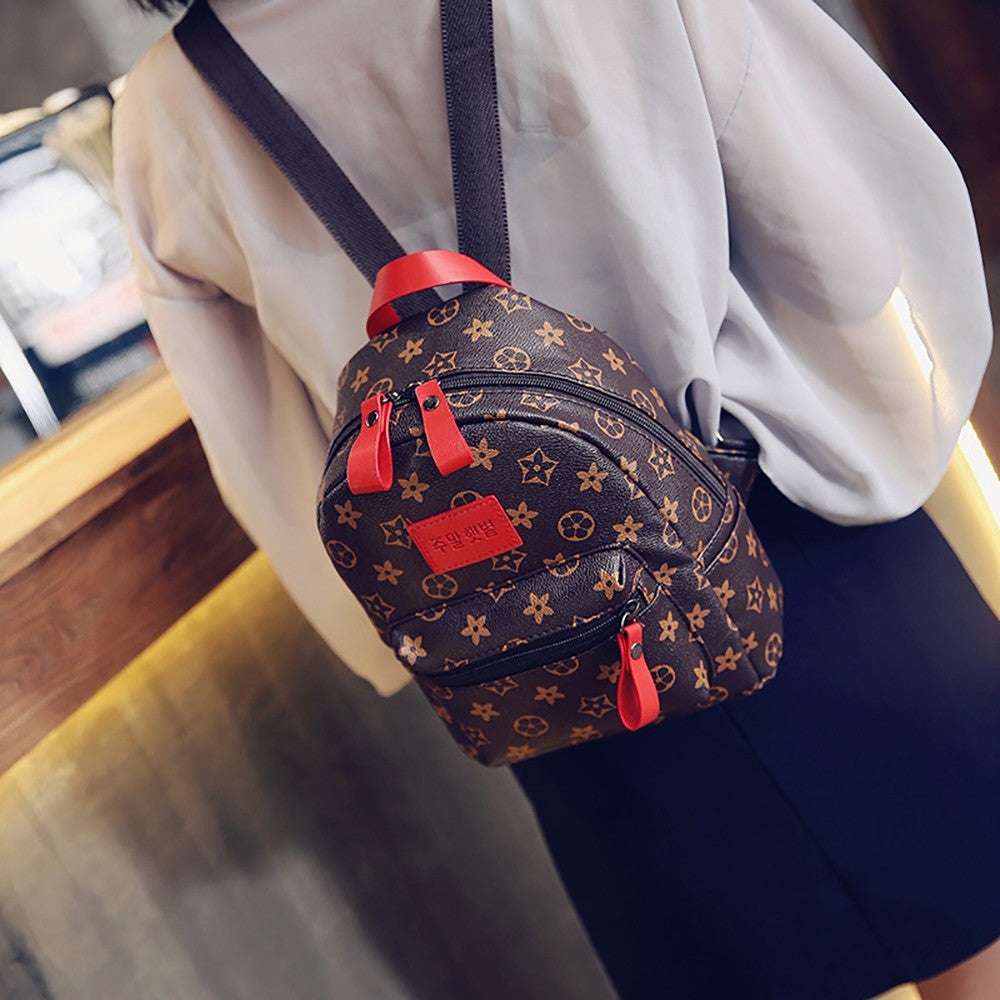 WoMen Old Flower Mini Backpack Flower Leisure Wild Small Backpack