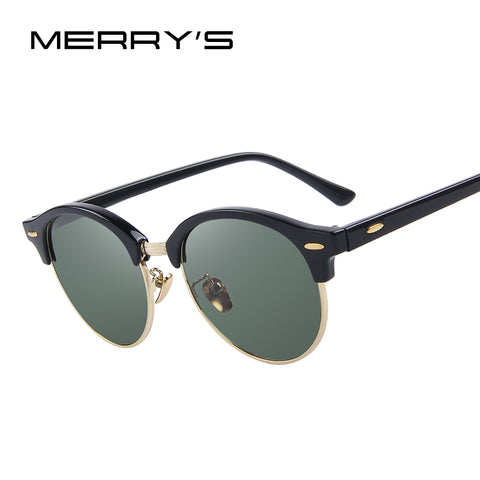 MERRYS Men Retro Rivet Polarized Sunglasses Classic Brand Designer Unisex Sunglasses Half Frame S8054