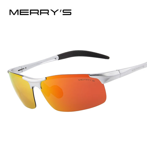 MERRYS Men Polarized Sunglasses Aviation Aluminum Magnesium Sun Glasses For Fishing Driving Rectangle Rimless Shades S8277
