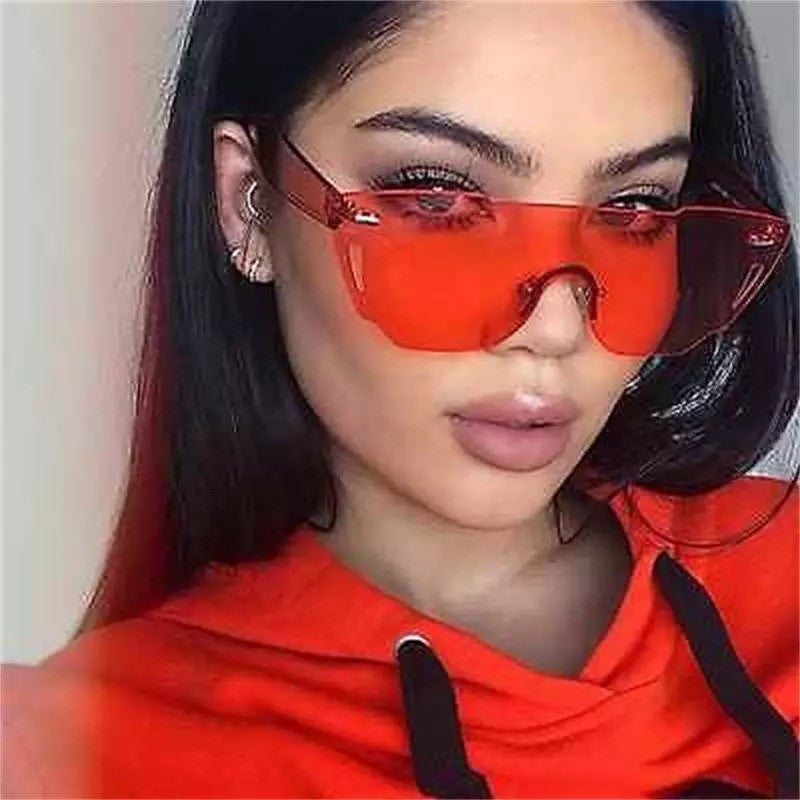133bdfc0a46 Rimless Sunglasses Women Acetate Candy Tint UV 400 Goggles Pink Red Flat  Top Sunglasses xx043 ...