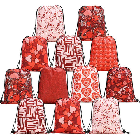 Women Backpack Storage Bundle Rope Valentine's Day Bag Shopping Drawstring Bag