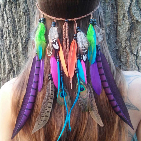 Bohemian Hippie Headband Dream Catcher Feather Headdress Fashion Indian Peacock Feather Headbands Hair Accessories