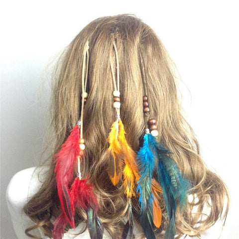 Indian Festival Retro Feathers Clips Hair Headpiece Tassel Hair Comb Headdress DIY Pretty Decorative Accessories