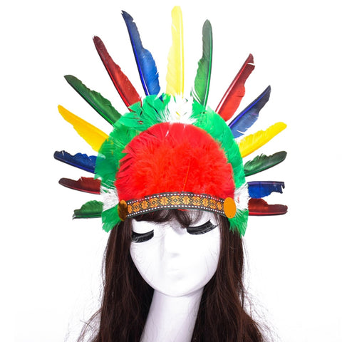 Thanksgiving Day Cosplay Indian Feathered Head With Party Props Carnival Headdress Feather Chieftain Show Headwear