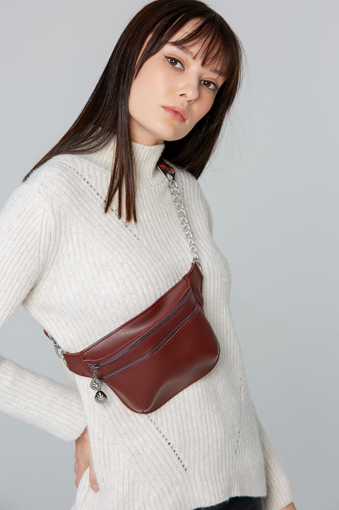 Women's Claret Red Waist Bag