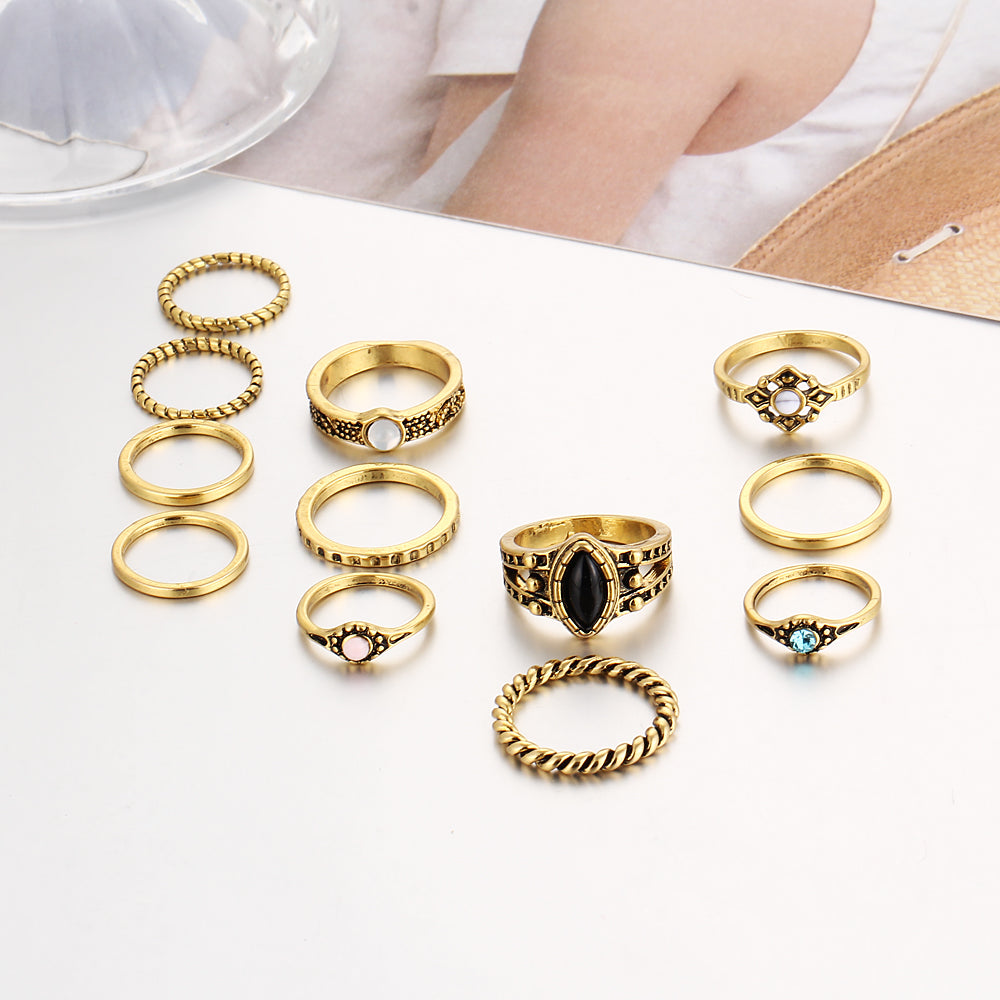 Striking Bohemian Rings for Women (12 pc Set)