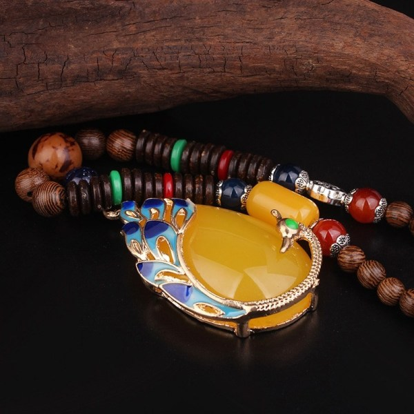 Cloisonne Enamel bodhi sandwood Necklace