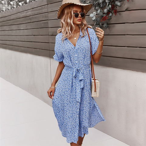 French Countryside Blue Button Front Dress