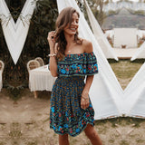 Bohemian Off The Shoulder Floral Dress