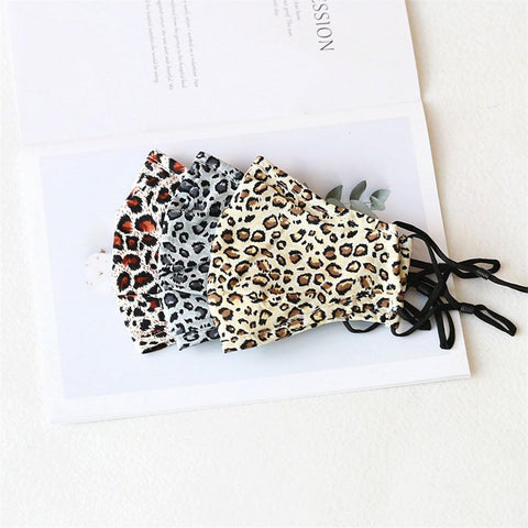 Pack of 3 Set of Leopard Print Face Mask with Nose Wire Filter Pocket Cotton Face Mask Protective 3 layer | Reusable and Washable