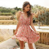 Floral Print Tie-Strap Mini Dress