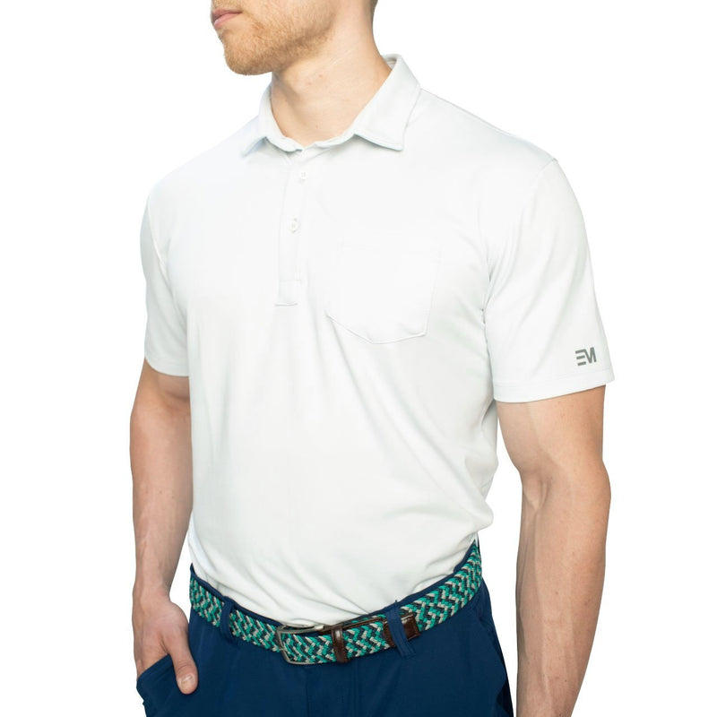 grey pocket golf polo shirt