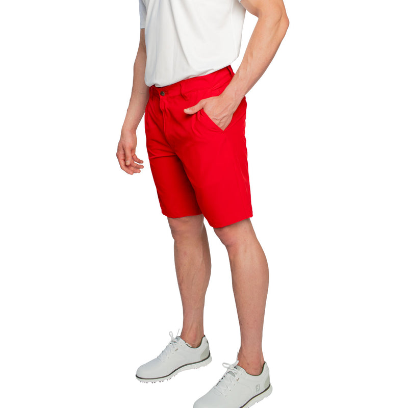 modern fit red golf shorts