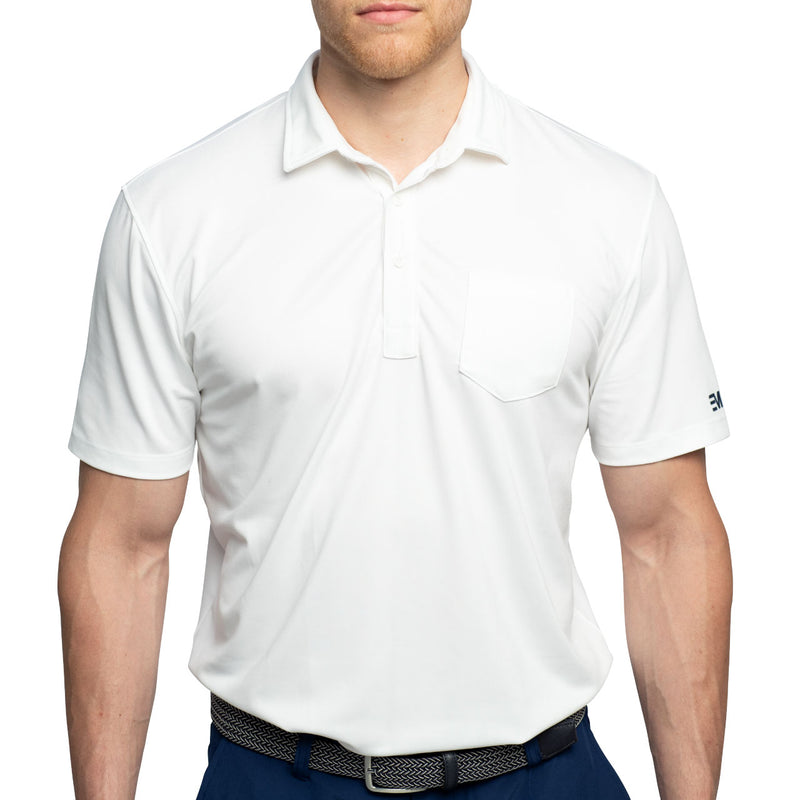white polo golf shirt