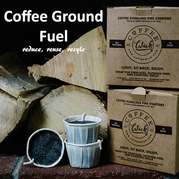 Fire starters that are made out of recycled coffee grounds. All natural fire starters for fire pits, campfires, fireplaces and charcoal grills.