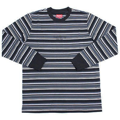 Supreme Classic Logo Striped Long Sleeve SZ L
