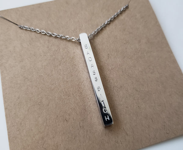 Badass Bitch Vertical Bar Necklace