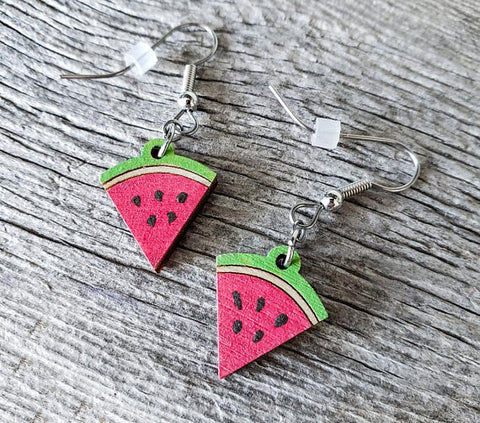 Dangling Watermelon Slice Earrings